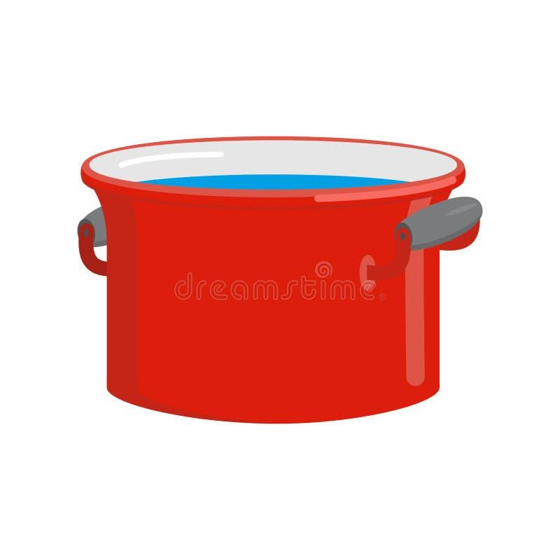 Rode pan met geïsoleerd water Keukengerei voor het koken vector illustratie