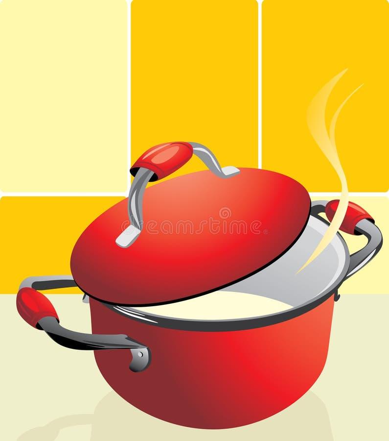 Rode pan met havermoutpap vector illustratie