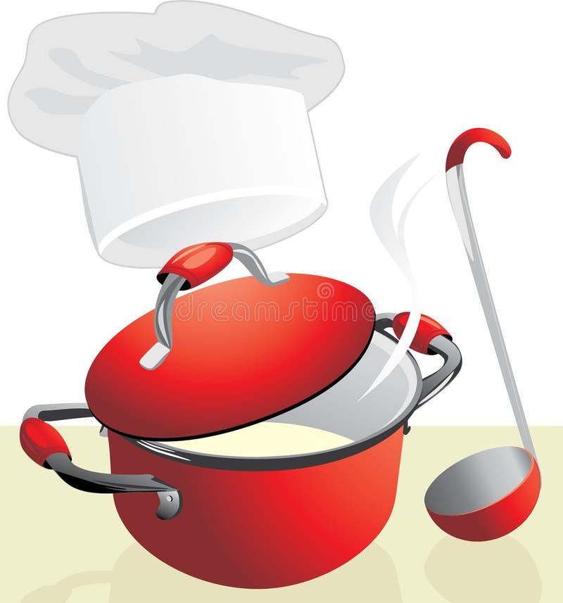 Rode pan met havermoutpap. De tijd van de maaltijd vector illustratie