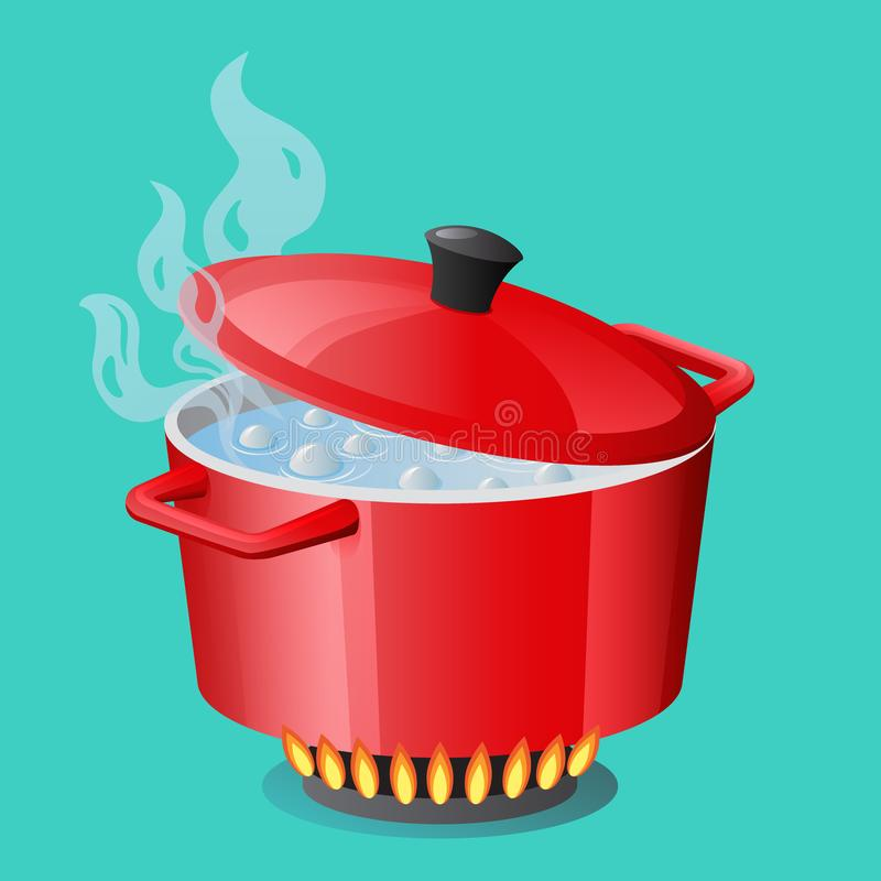 Rode pan, steelpan, pot, braadpan, kooktoestel, stewpan met kokend water en gesloten pandekselvector geïsoleerd Kokend pictogram royalty-vrije illustratie