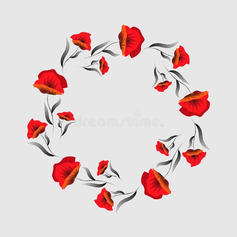 Rode papaverbloem Bloemen frame Poppy Wreath De Dag van de herinnering veteranen vector illustratie