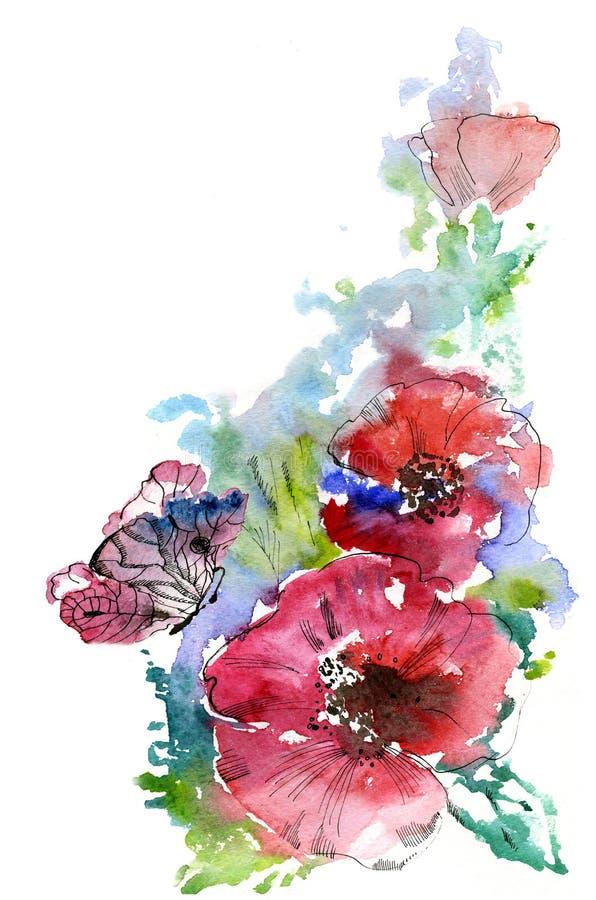 Rode Papavers en een vlinder royalty-vrije illustratie