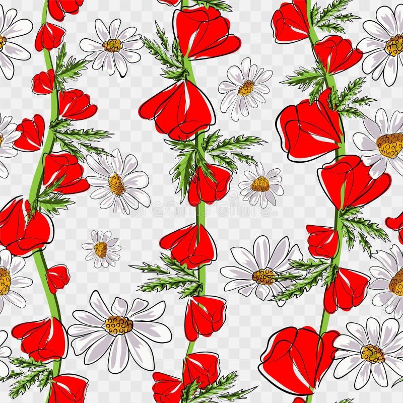 Rode papavers en madeliefjes Naadloos patroon Vector illustratie royalty-vrije illustratie