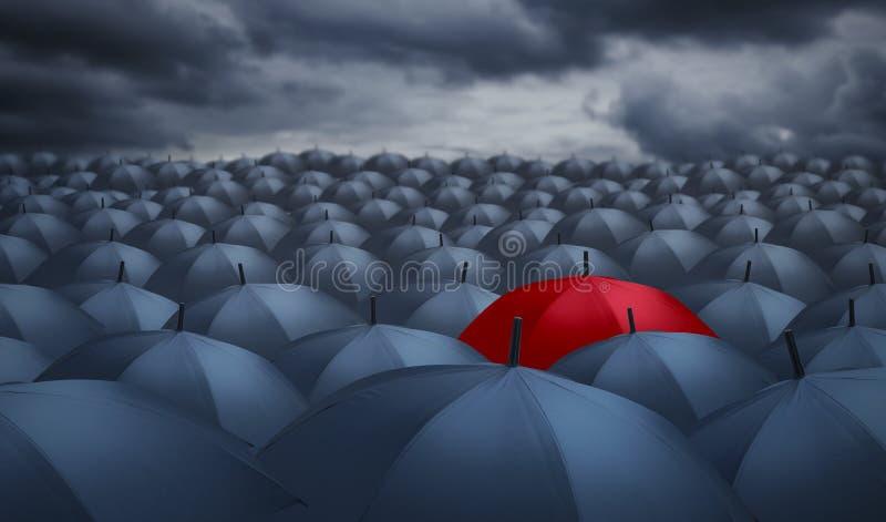 Rode paraplu opmerkelijk van anderen stock illustratie