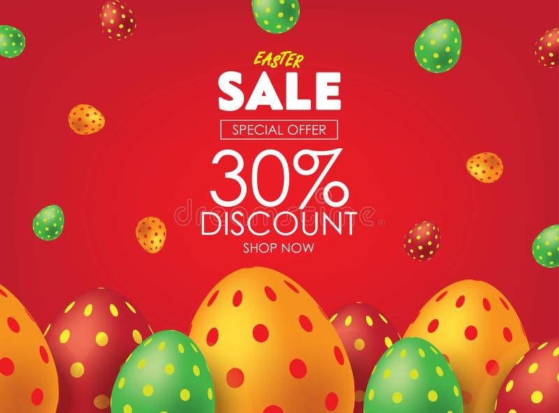 Rode Pasen-Verkoopaffiche of Vlieger met Kleurrijke Eieren Reclamecampagne in de Marketing van Kleinhandels, Verkooppromo, Advert royalty-vrije illustratie