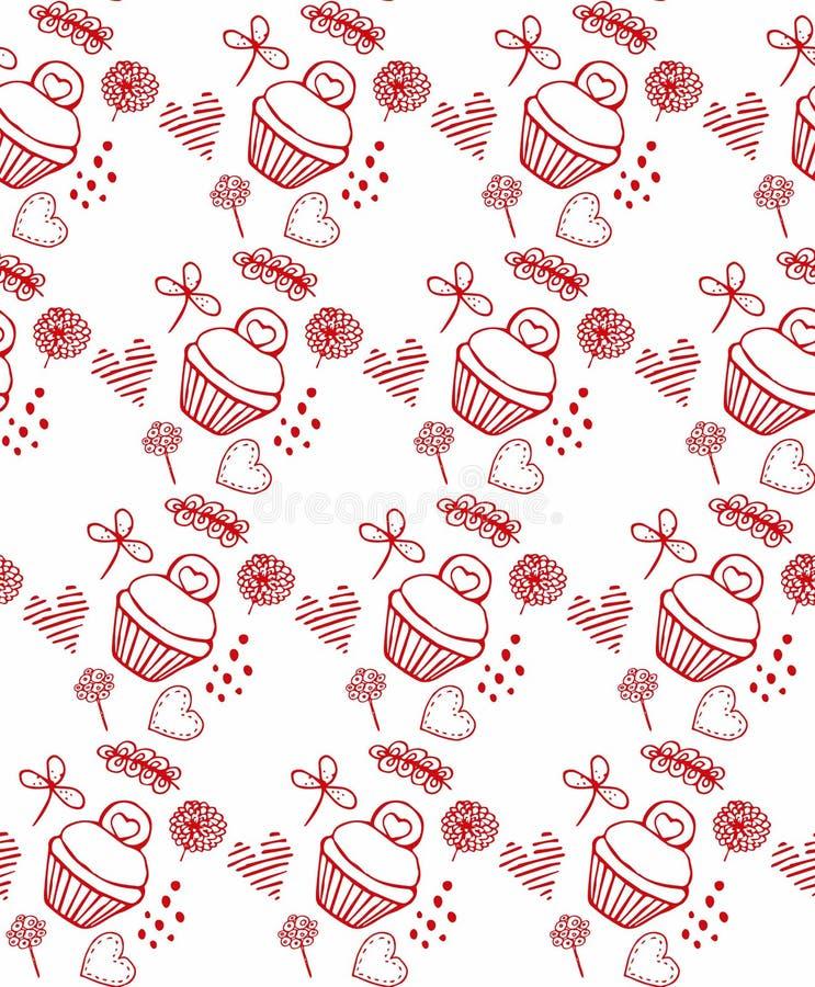 Rode patroonkuki en bloemen, cakes stock illustratie