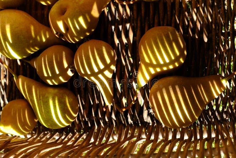 Rode peren voor voedselachtergrond in de mand met gestreepte gevormde schaduwen stock foto's