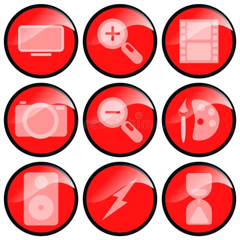 Rode Pictogrammen Van verschillende media royalty-vrije illustratie