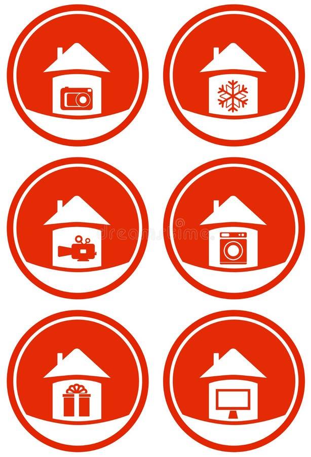 Rode pictogrammen voor verkoop vector illustratie