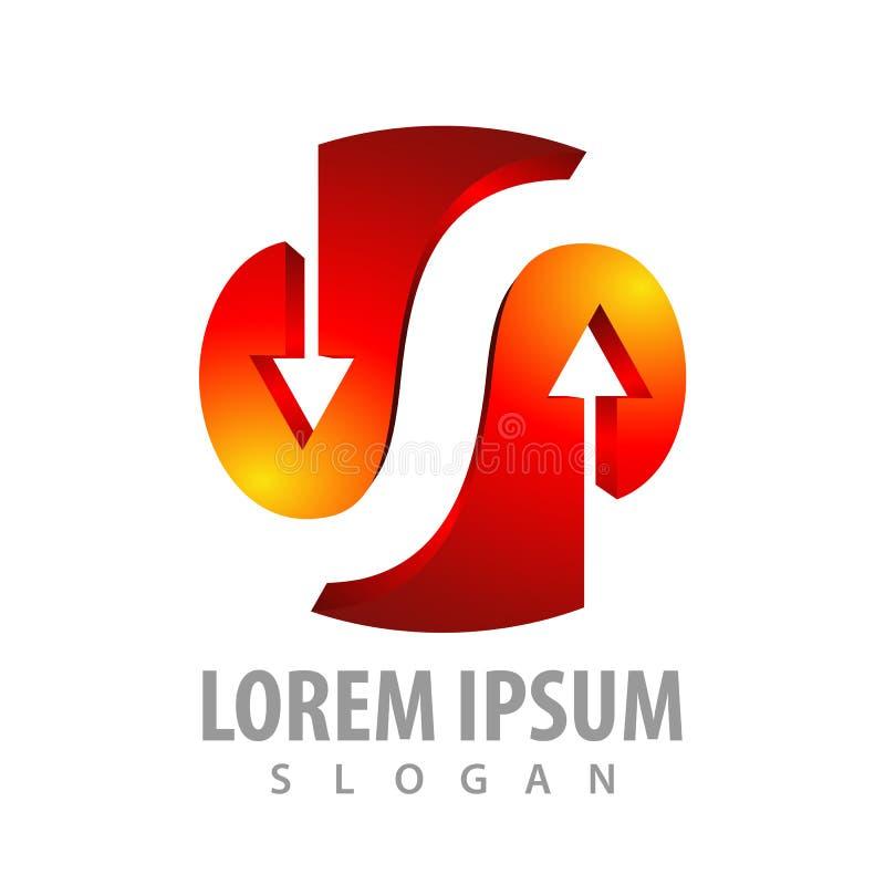 Rode pijl bebouwde brief S in 3D stijlconceptontwerp Het elementenvector van het symbool grafische malplaatje vector illustratie