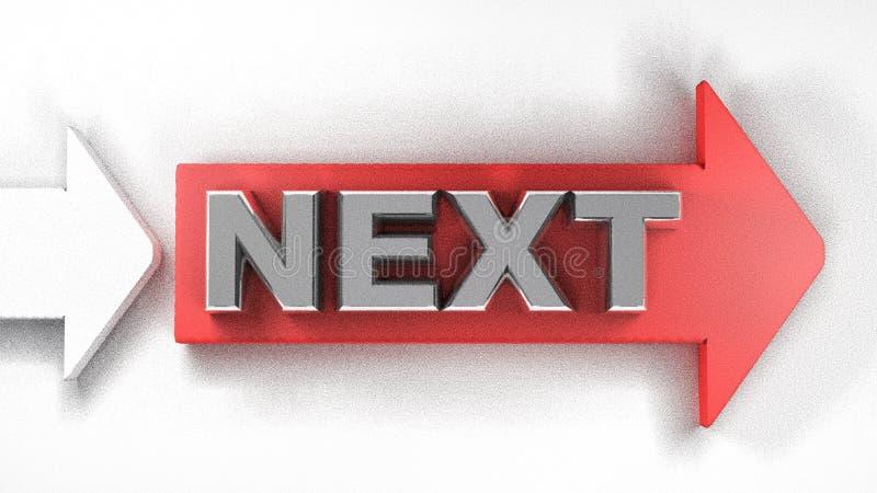 Rode pijl DAARNA - 3D teruggevende illustratie stock illustratie