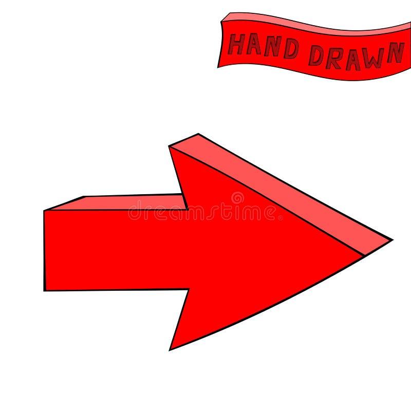 Rode pijl Daarna rechtstreeks teken Hand getrokken schets vector illustratie