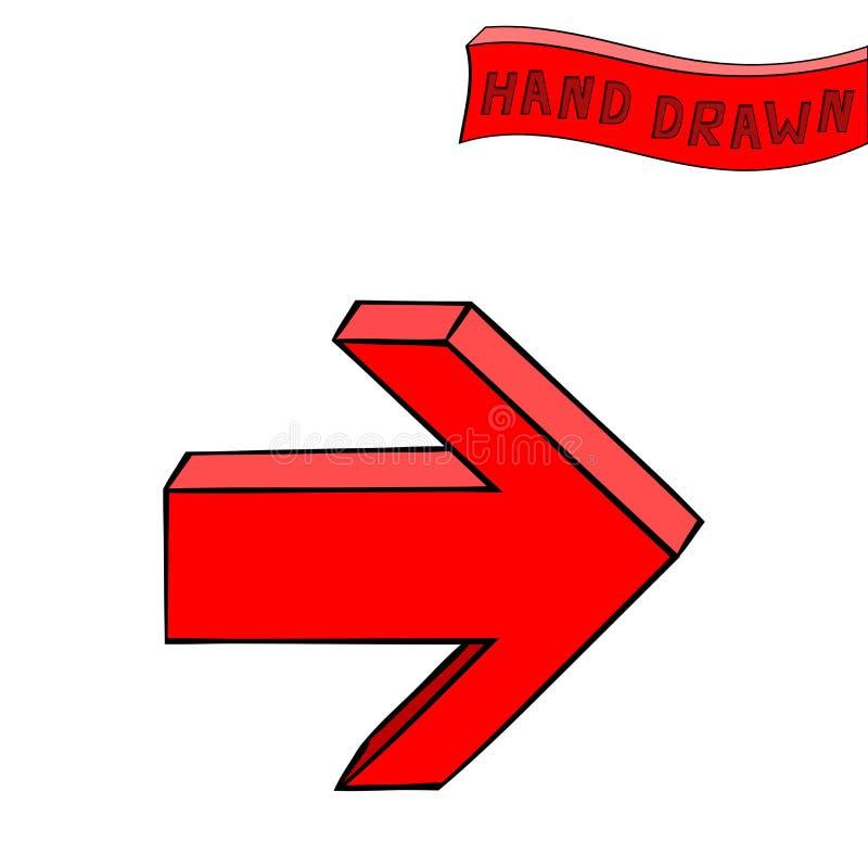 Rode pijl Daarna rechtstreeks teken Hand getrokken schets stock illustratie