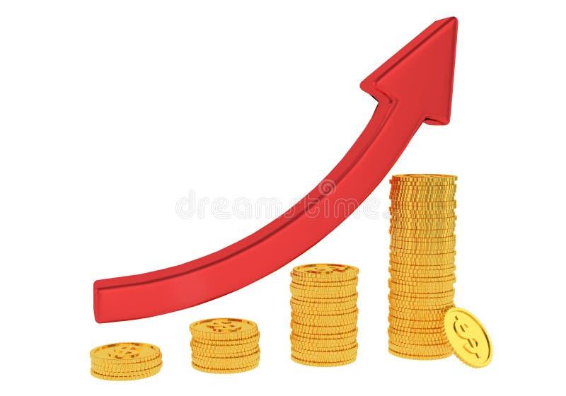 Rode pijl omhoog en grafiekdiagram van gouden die dollarmuntstukken op witte achtergrond worden ge?soleerd het 3d teruggeven Fina vector illustratie