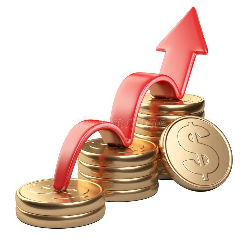 Rode pijl omhoog en grafiekdiagram van gouden dollarmuntstukken royalty-vrije illustratie