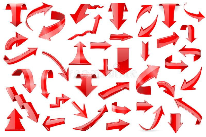 Rode pijlen Reeks glanzende die 3d pictogrammen op witte achtergrond wordt geïsoleerd royalty-vrije illustratie