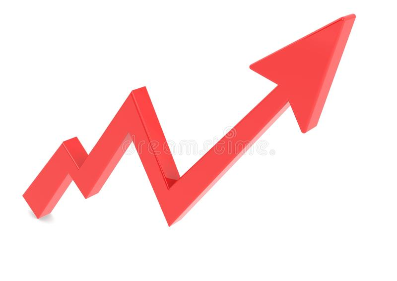 Rode pijlgrafiek omhoog stock illustratie
