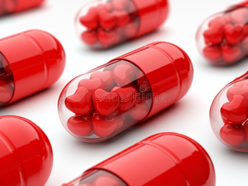 Rode pillen die met harten worden gevuld stock afbeeldingen
