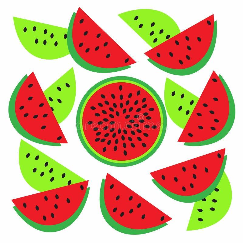 Rode plakken van watermeloen en een gehele watermeloen in het midden van de besnoeiingsvector royalty-vrije illustratie