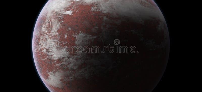 Rode Planeet in Kosmische ruimte op Zwarte Achtergrond Elementen van dit die beeld door NASA wordt geleverd stock foto