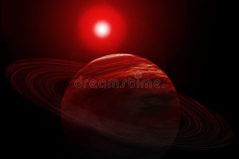 Rode Planeet met Ringen, Sterren en Zon royalty-vrije illustratie