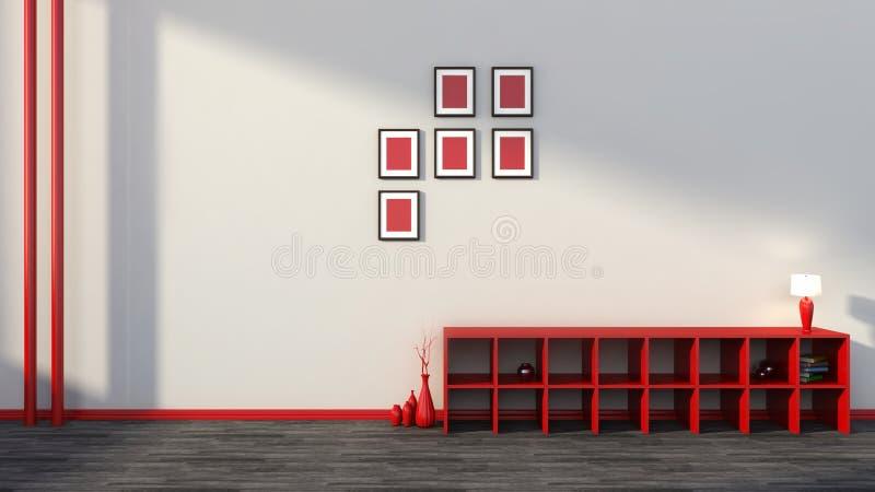 Rode plank met vazen, boeken en lamp royalty-vrije illustratie