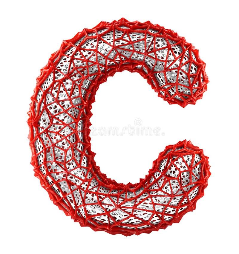 Rode plastic brief C met abstracte gaten 3d stock illustratie