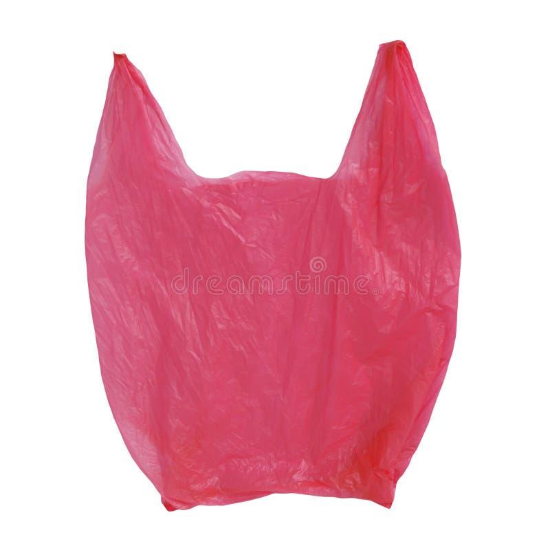 Rode Plastic die cellofaanzak op wit wordt geïsoleerd royalty-vrije stock foto