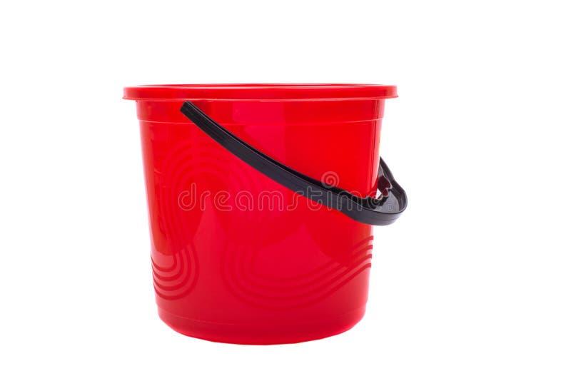Rode plastic emmer royalty-vrije stock fotografie