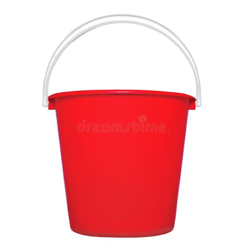 Rode plastic geïsoleerdew emmer royalty-vrije stock foto's
