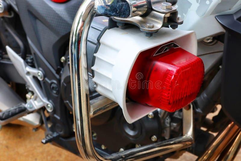 Rode plastic, lichte doos, hoorn, signaal voor motor, politie royalty-vrije stock afbeeldingen