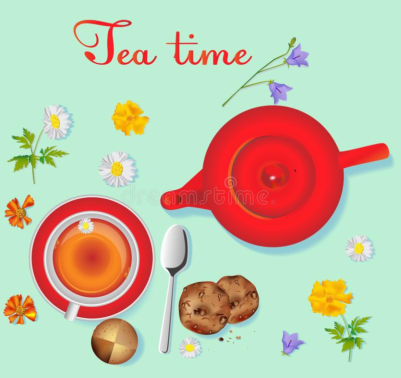 Rode porseleintheepot op de lijst en witte kop met thee op de lijst vector illustratie
