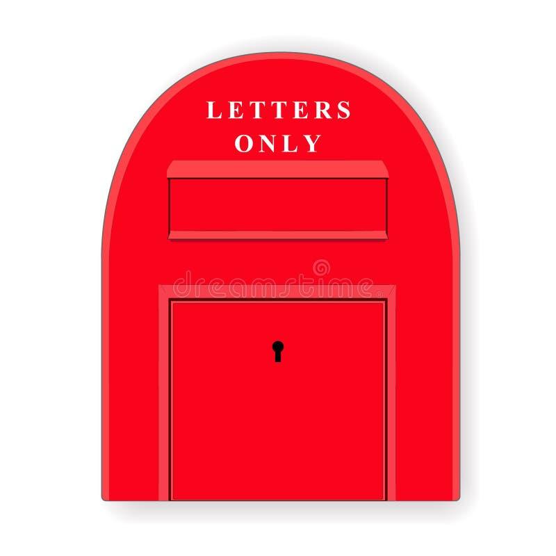 Rode postdoos brievenbus letterbox Illustratie stock illustratie