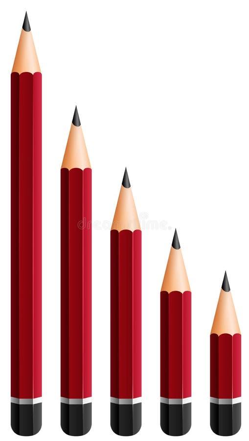 Rode potloden in verschillende grootte vector illustratie