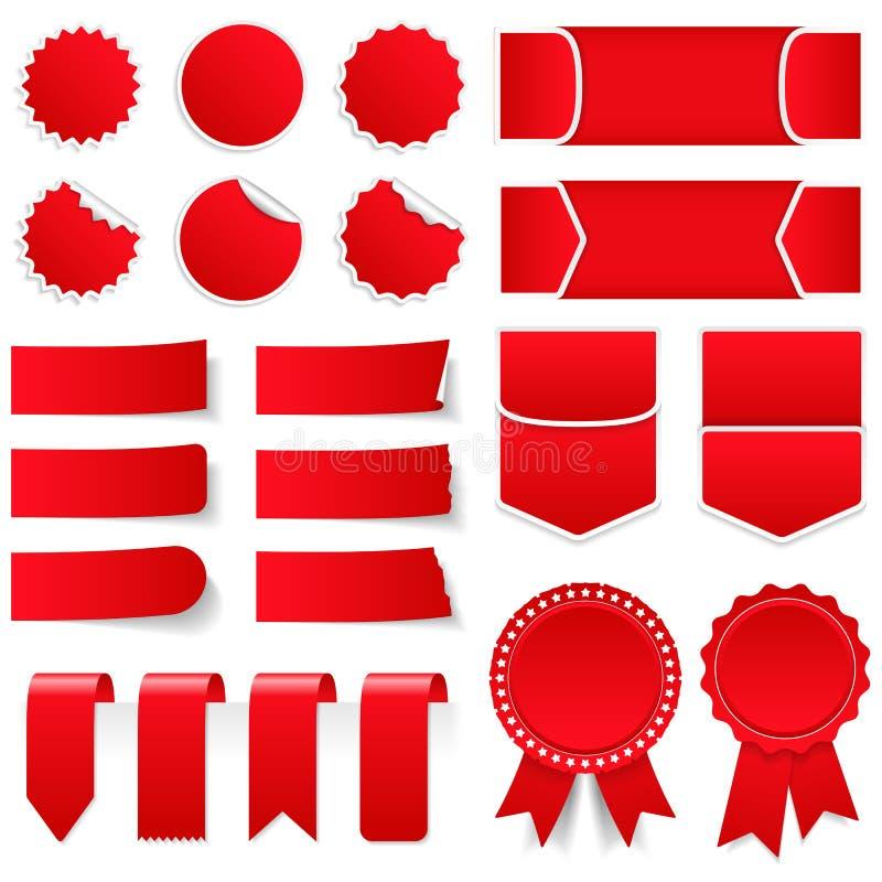 Rode Prijskaartjes en Stickers vector illustratie