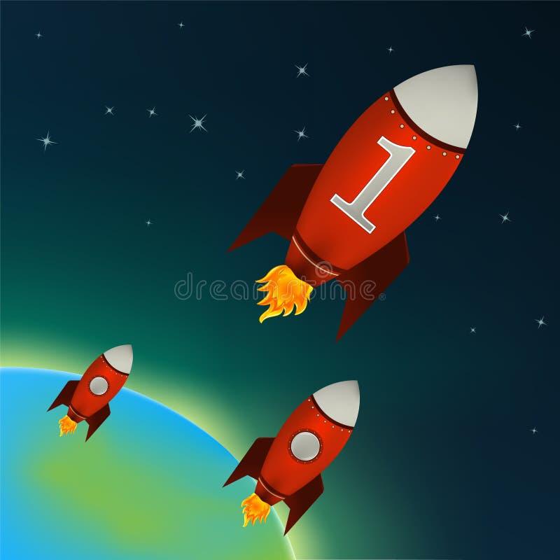 Rode Raketten die in kosmische ruimte vliegen royalty-vrije illustratie