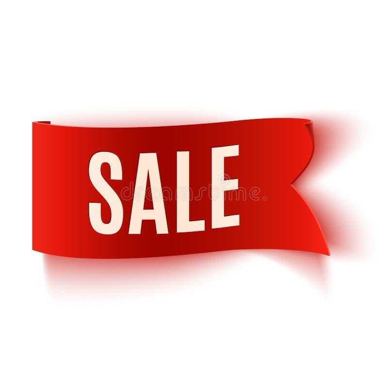 Rode realistische gedetailleerde gebogen document verkoopbanner stock illustratie