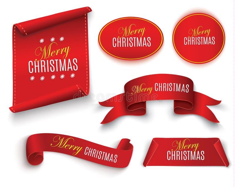 Rode realistische gedetailleerde gebogen document Vrolijke die Kerstmisbanner op witte achtergrond wordt geïsoleerd Vector illust royalty-vrije illustratie