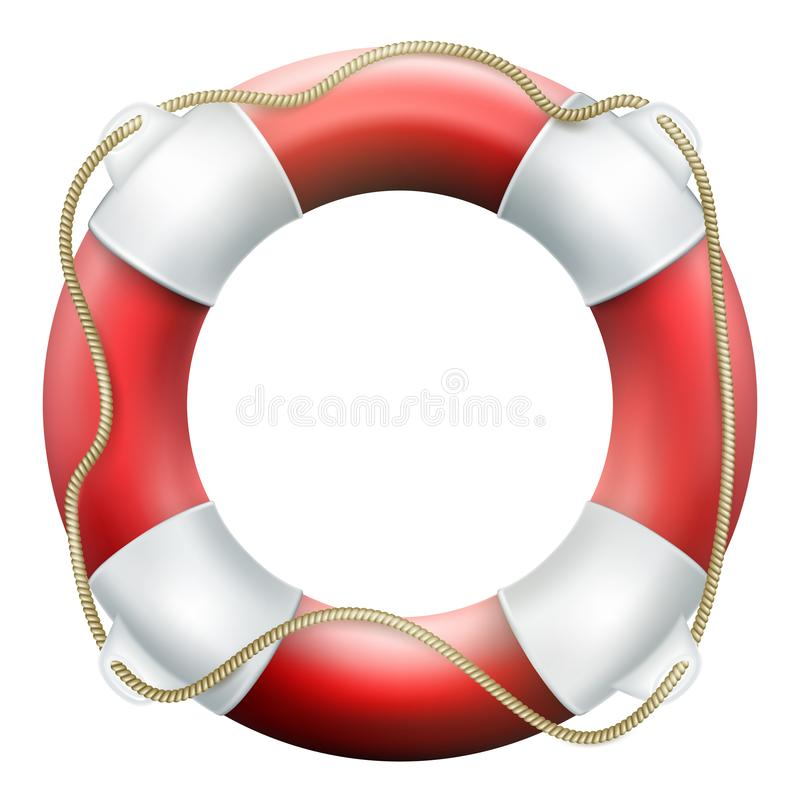Rode reddingsboei met kabel Geïsoleerdj op witte achtergrond Reddingscirkel voor snelle hulp Eps 10 vector illustratie