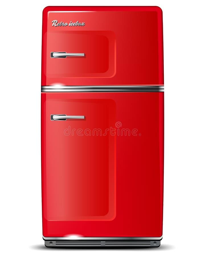 Rode retro ijskast stock illustratie