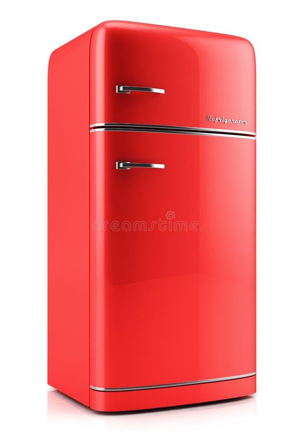 Rode retro koelkast stock illustratie