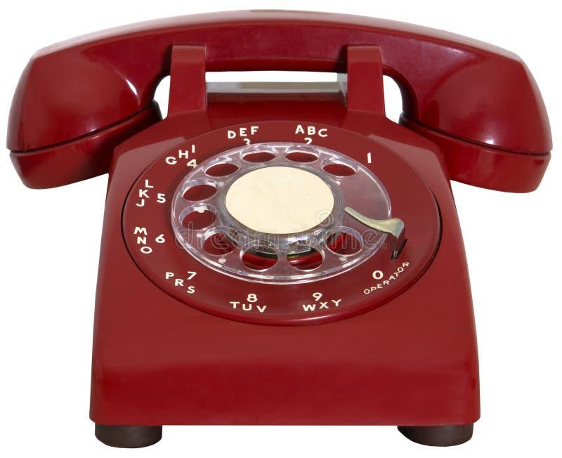 Rode Retro Telefoon, Geïsoleerde Hotline, stock afbeeldingen