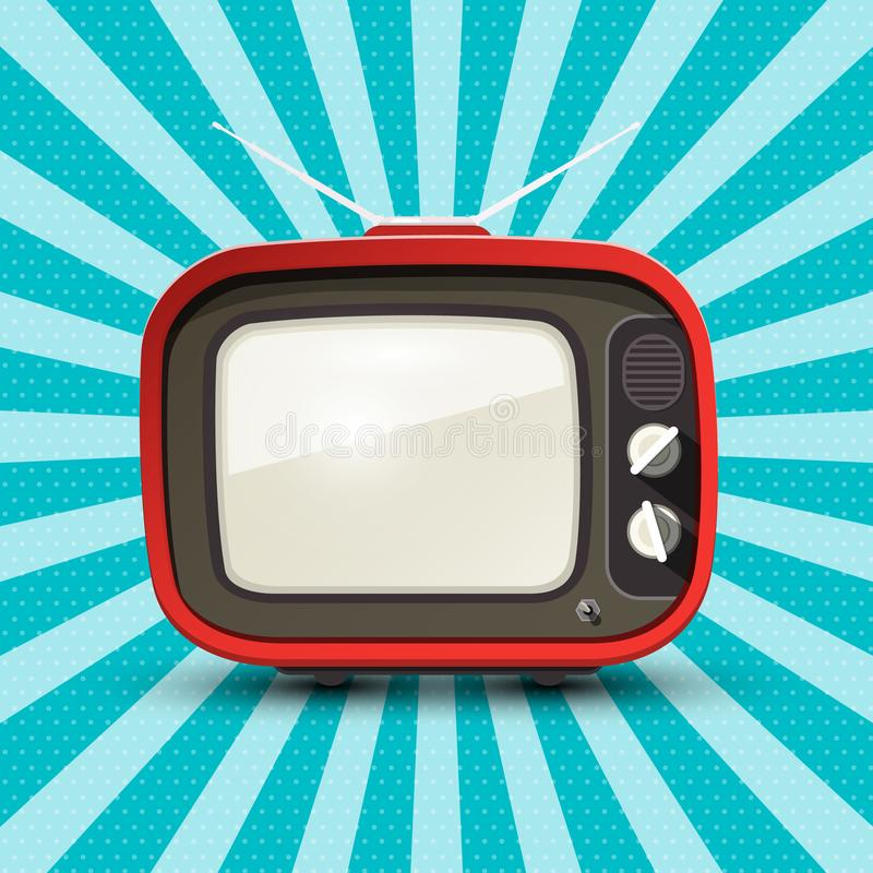Rode Retro TV op Uitstekende Achtergrond royalty-vrije illustratie