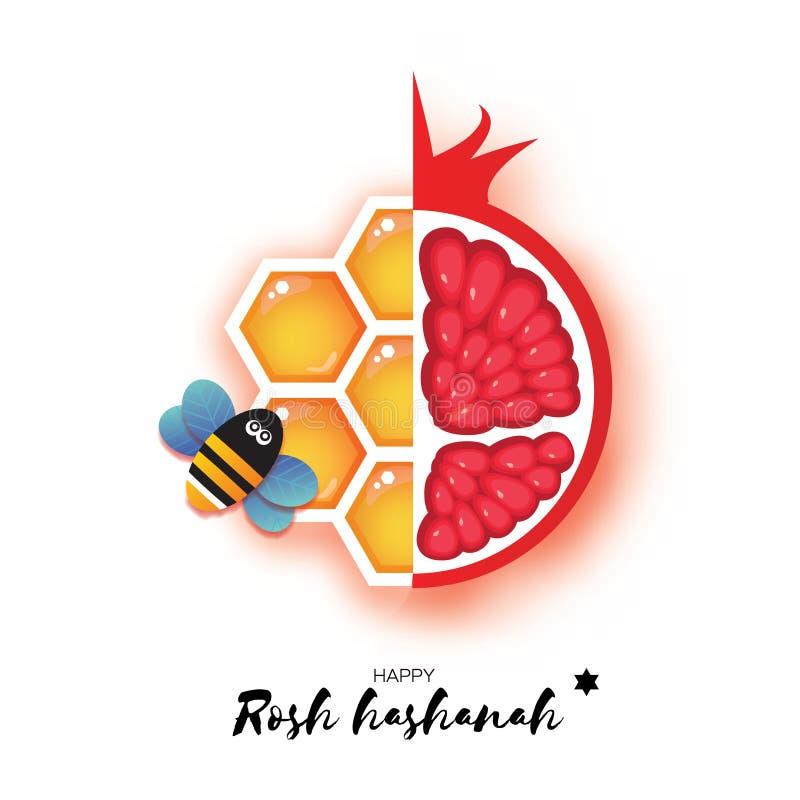 Rode rijpe granaatappel en gouden honingraat Joods Nieuwjaar, de Groetkaart van Rosh Hashanah Origami Honey Bee in document besno stock illustratie