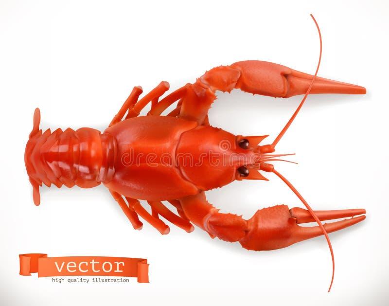 Rode rivierkreeften 3d vectorpictogram Zeevruchten stock illustratie