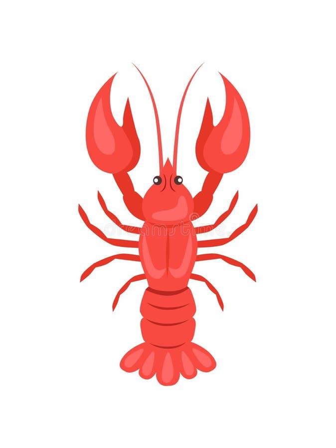 Rode Rivierkreeften VectordieIllustratie op Wit wordt geïsoleerd royalty-vrije illustratie