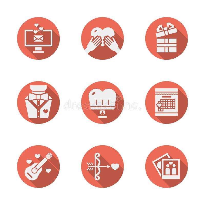 Rode ronde romantische geplaatste pictogrammen royalty-vrije illustratie