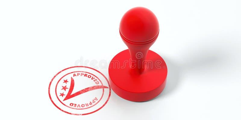 Rode ronde rubberstamper en zegel met goedgekeurd die tekst op witte achtergrond wordt geïsoleerd 3D Illustratie vector illustratie