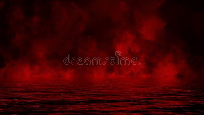 Rode rook met bezinning in water Geheimzinnigheid de bekledingenachtergrond van de misttextuur Het element van het ontwerp stock afbeelding