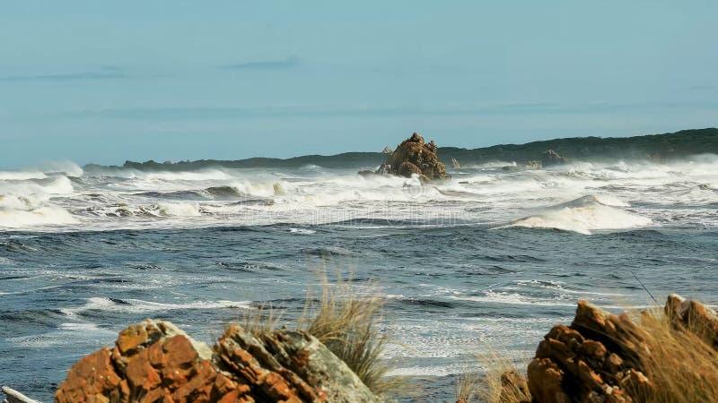 Rode rotsen bij de riviermonding van Arthur op de westkust van Tasmanige royalty-vrije stock fotografie
